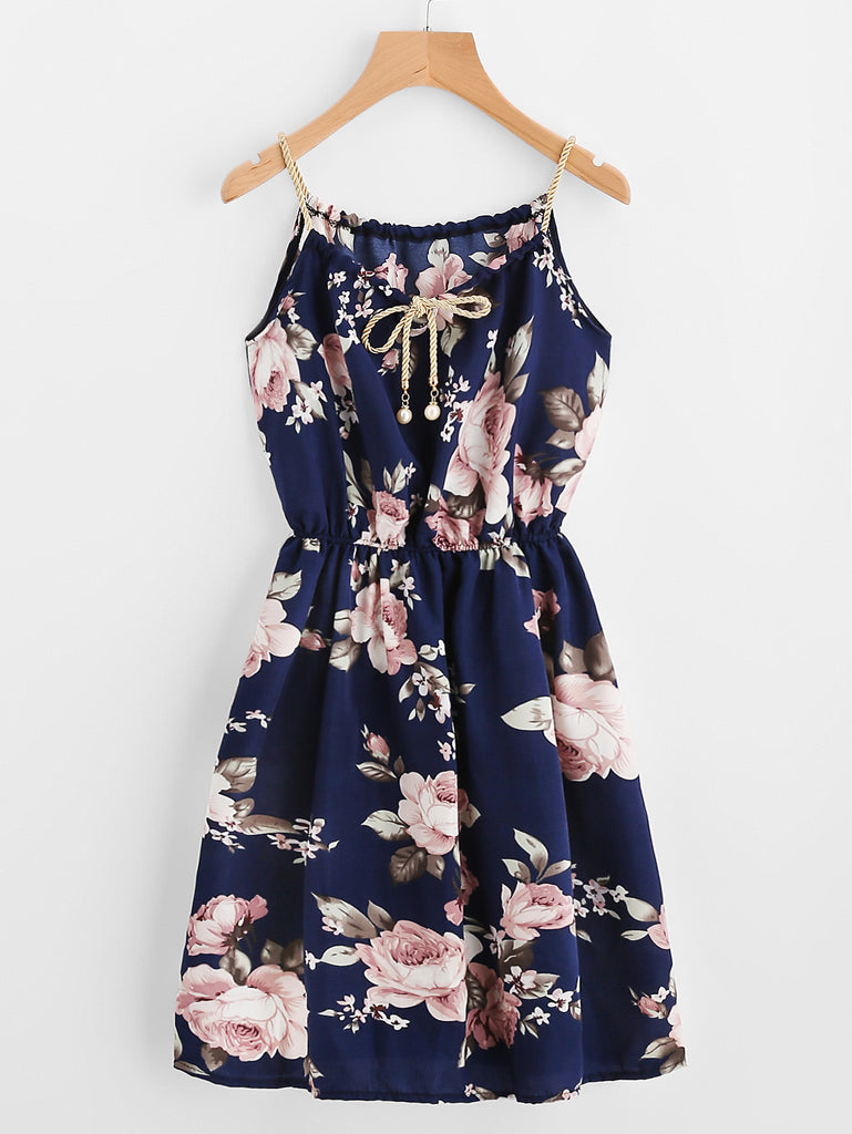 Braided Bead Strap Tie Floral Print Dress (3)