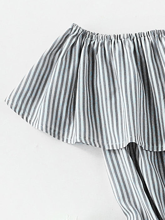 Frill Layered Self Tie Vertical Striped Romper (2)
