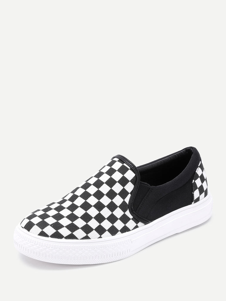 Gingham Canvas Slip On Plimsolls (2)