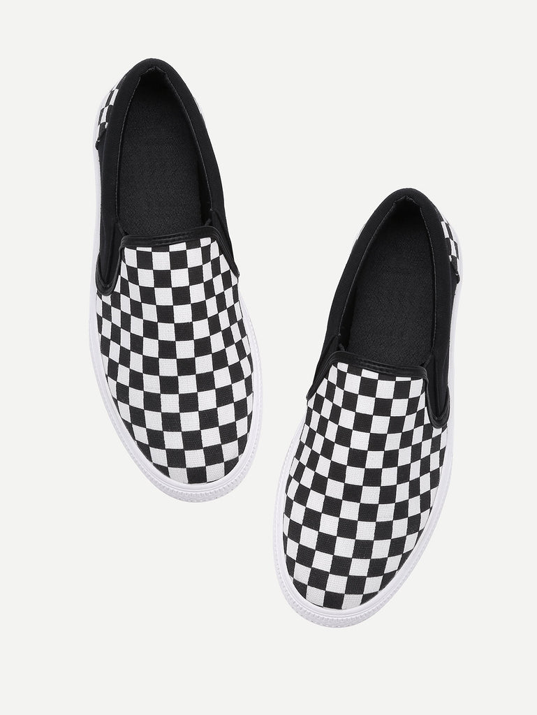 Gingham Canvas Slip On Plimsolls (4)