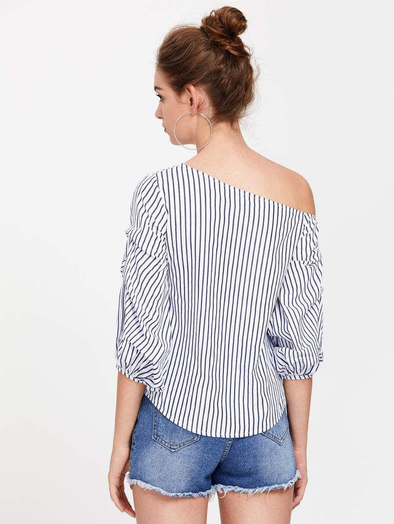 Asymmetric Shoulder Gathered Lantern Sleeve Top (3)