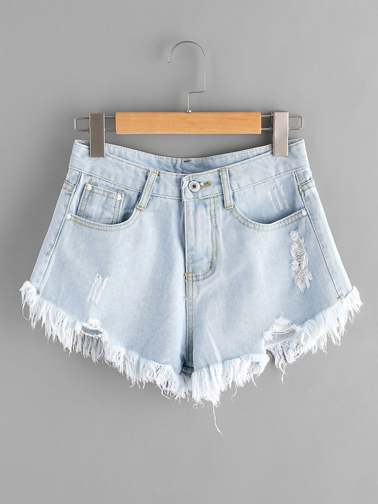Bleach Wash Ripped Frayed Hem Denim Shorts