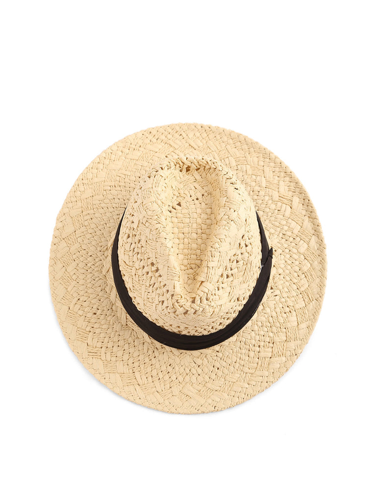 Contrast Band Braided Beach Hat (2)