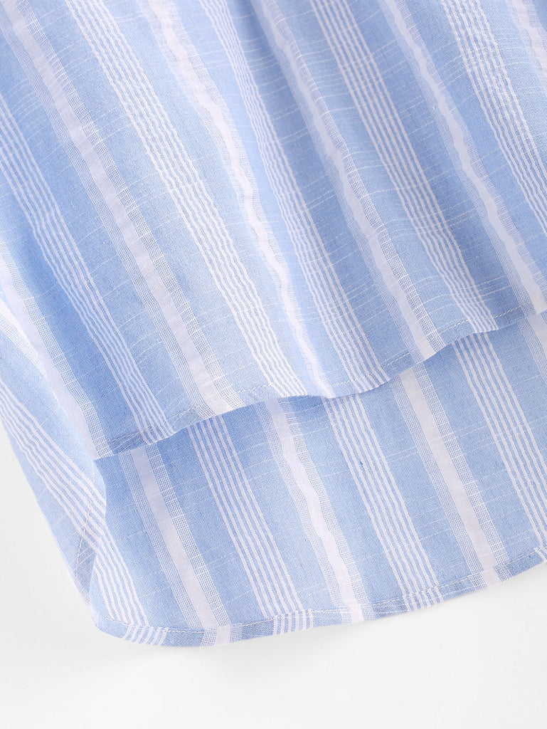 Rolled Cuff Stepped Hem Striped Top (3)