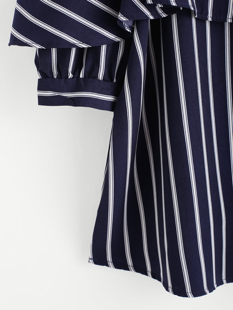 Open Shoulder Layered Striped Top (2)