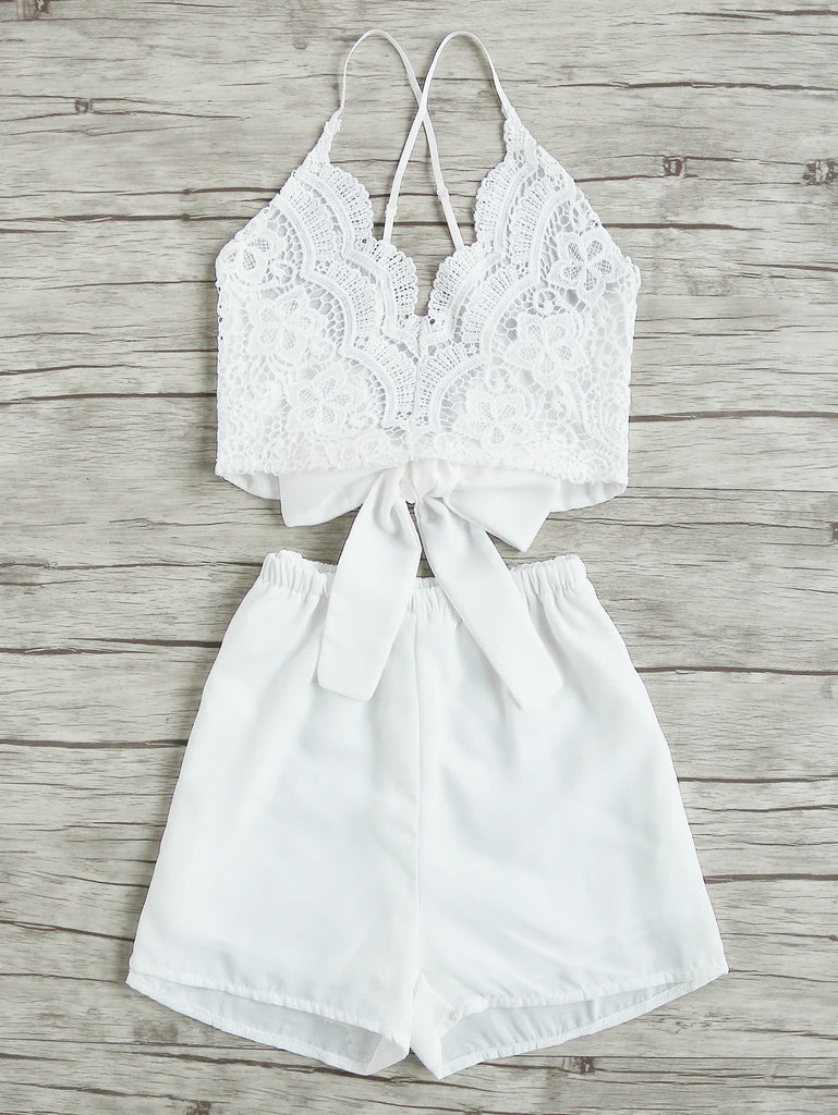 Lace Panel Criss Cross Bow Tie Back Cami Top With Shorts (3)