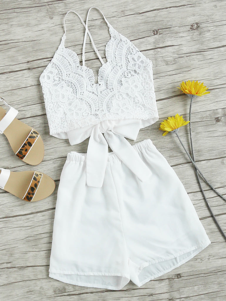 Lace Panel Criss Cross Bow Tie Back Cami Top With Shorts