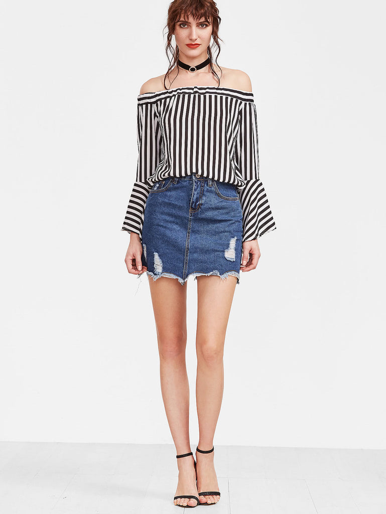 Blue Raw Hem Ripped Denim Skirt (3)