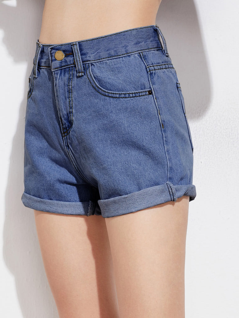 Rolled Cuffed Denim Shorts (2)
