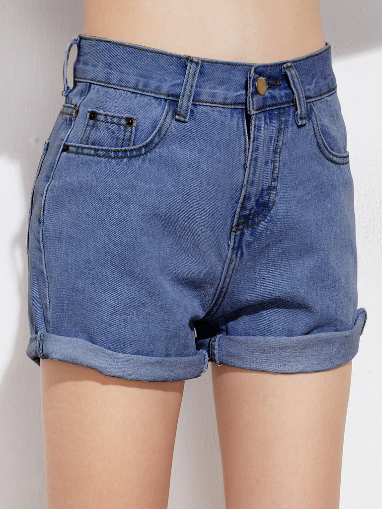 Rolled Cuffed Denim Shorts (3)