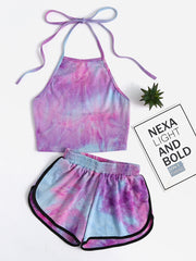 Halter Neck Water Color Crop Top With Ringer Shorts