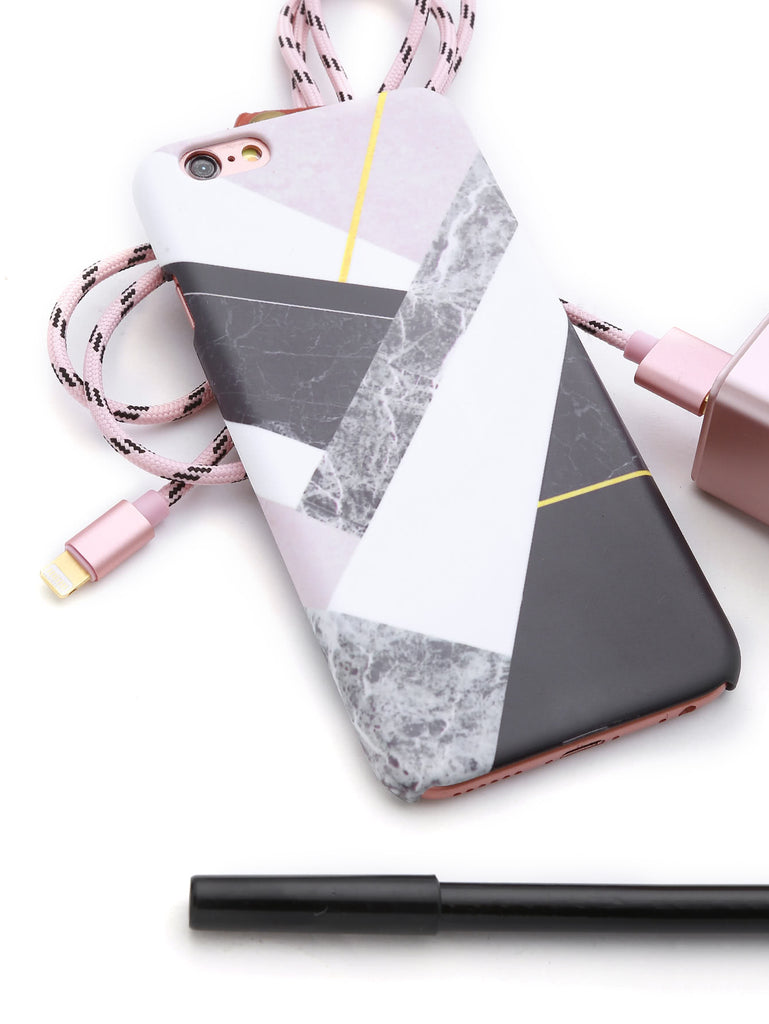 Color Block Marble Print iPhone Case (2)