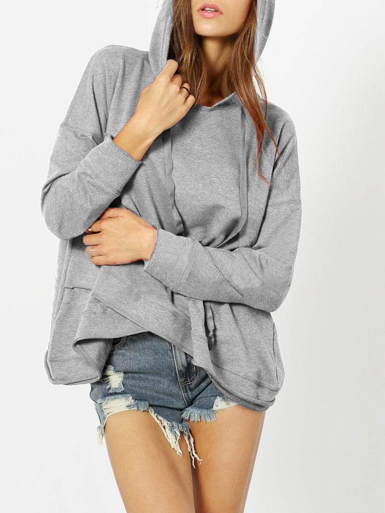 Dropped Shoulder Heather Knit Overlap Hoodie (3)