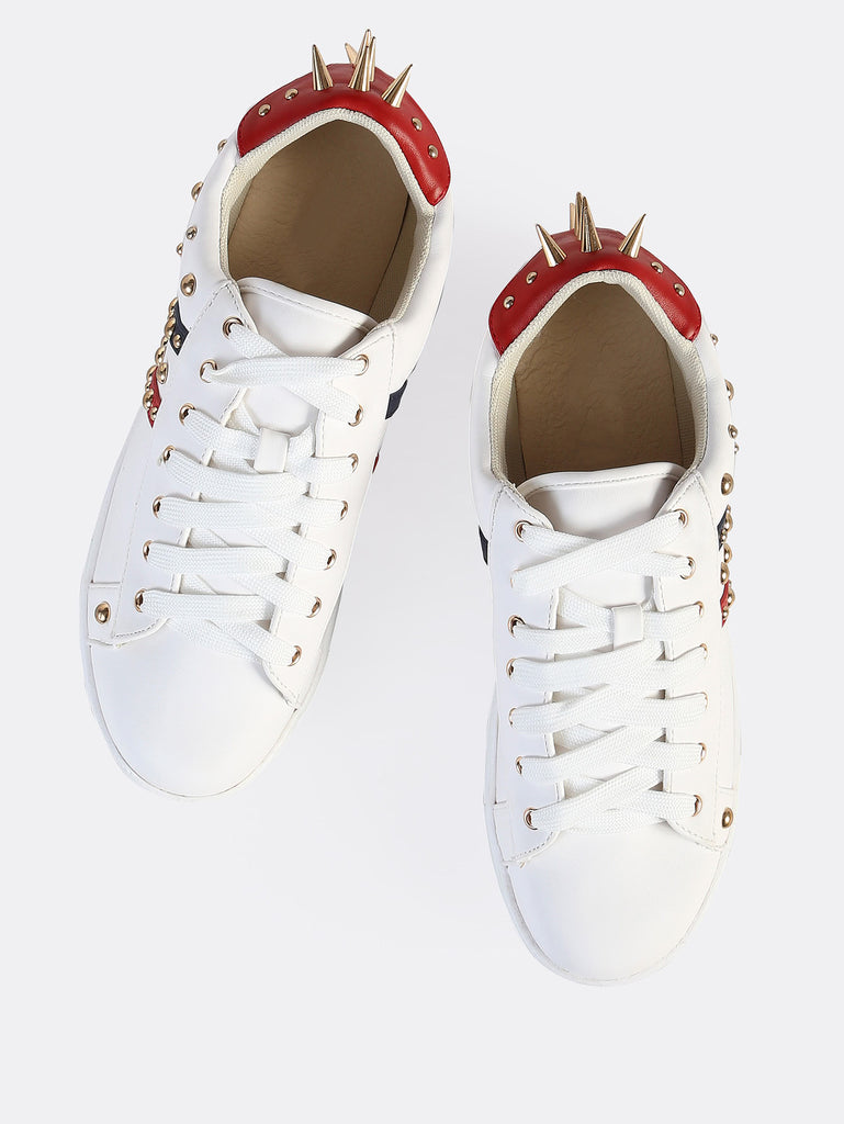 Colorblock Leather Spike Sneakers WHITE (2)