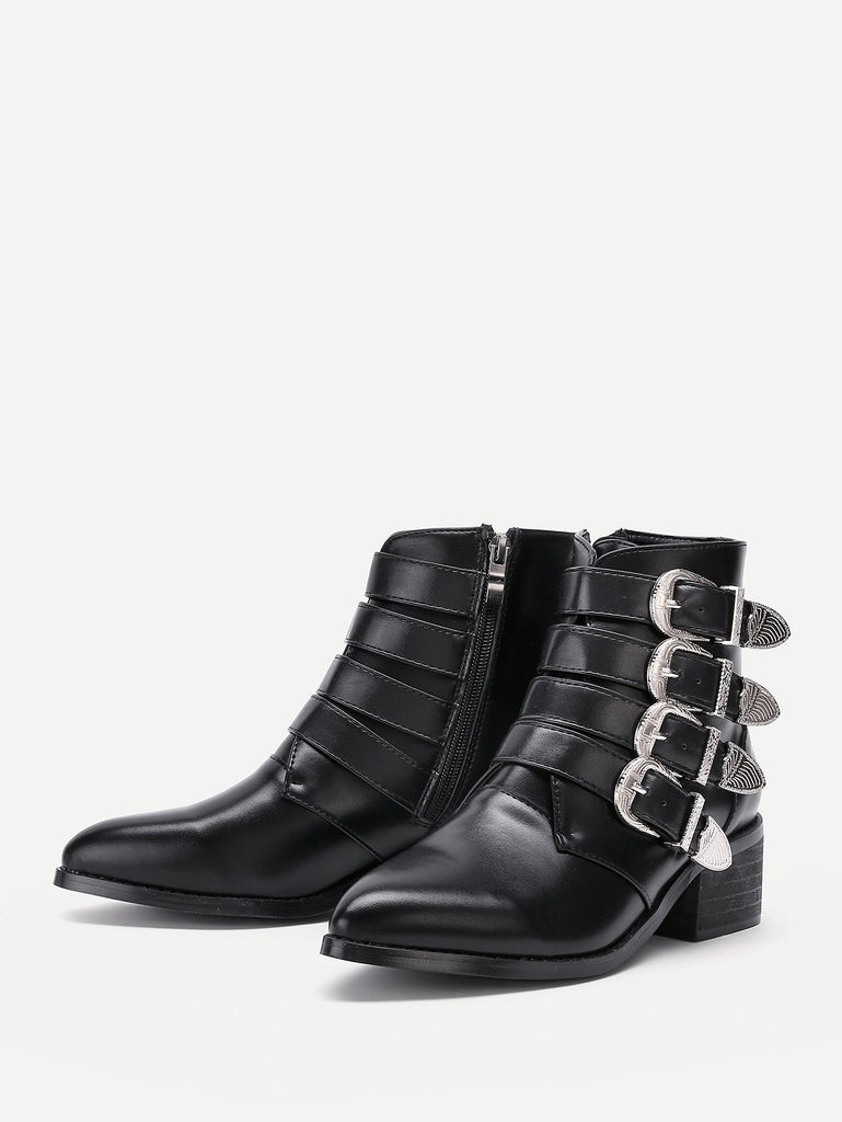 Buckle Decorated Side Zipper Ankle Boots (2)