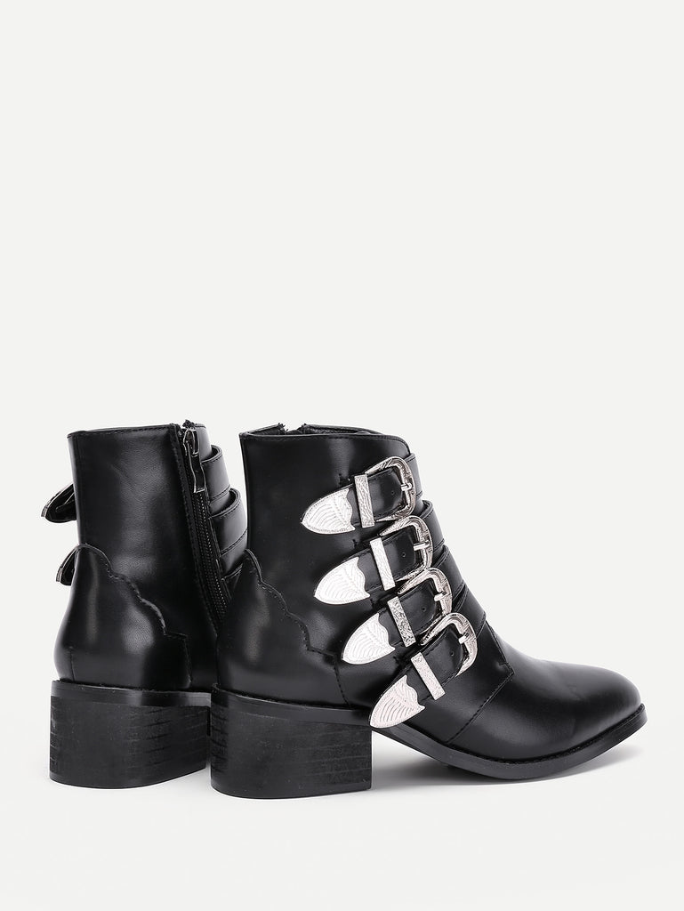 Buckle Decorated Side Zipper Ankle Boots (3)