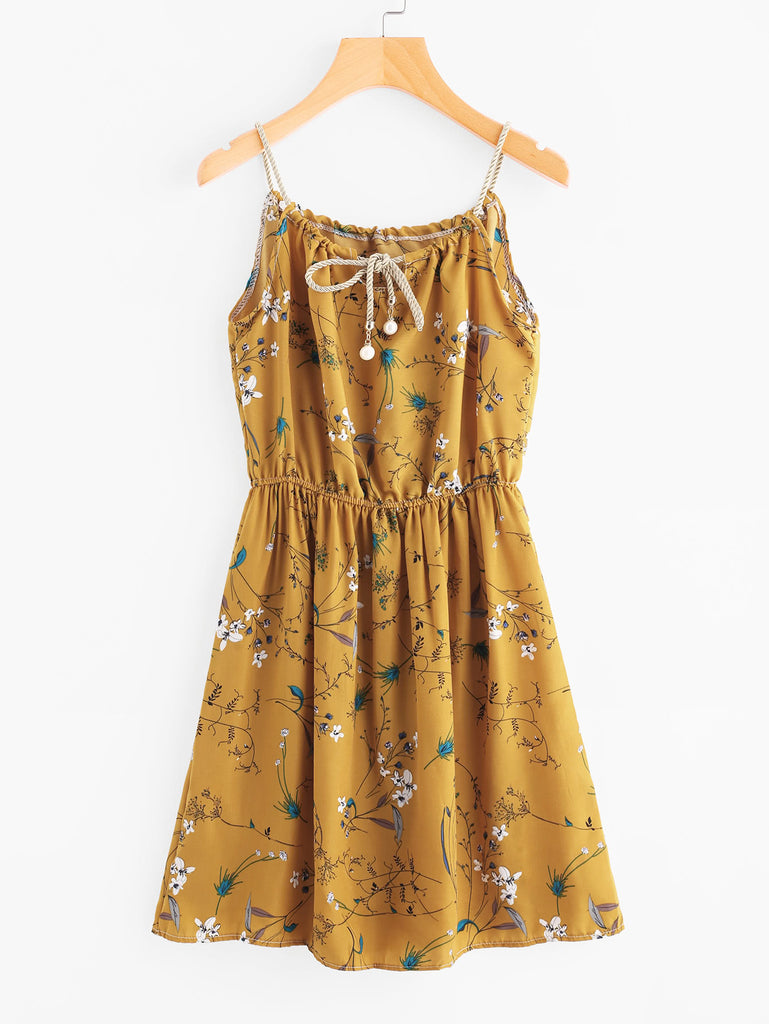 Braided Bead Strap Tie Floral Print Random Dress (3)