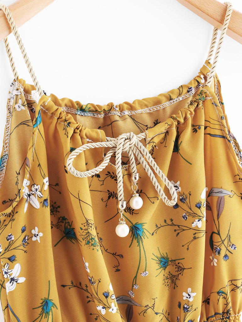 Braided Bead Strap Tie Floral Print Random Dress (2)