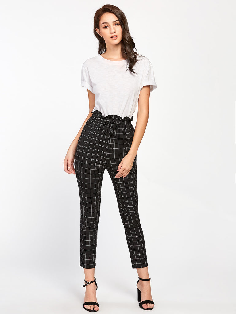 Frilled Waist Grid Pants (2)