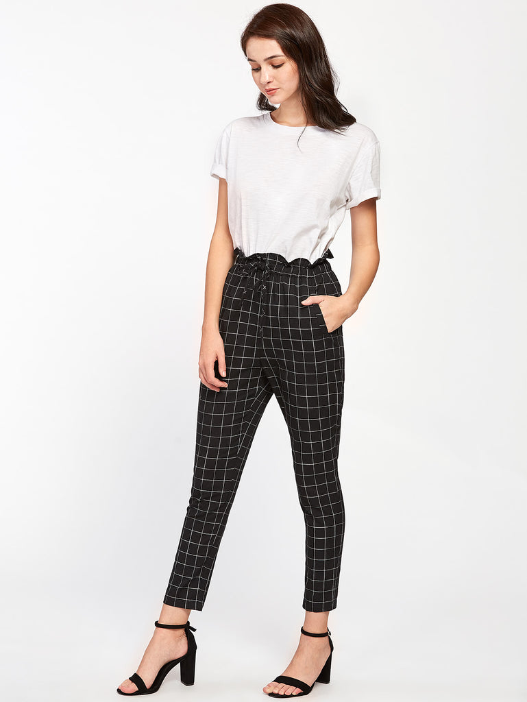 Frilled Waist Grid Pants (3)