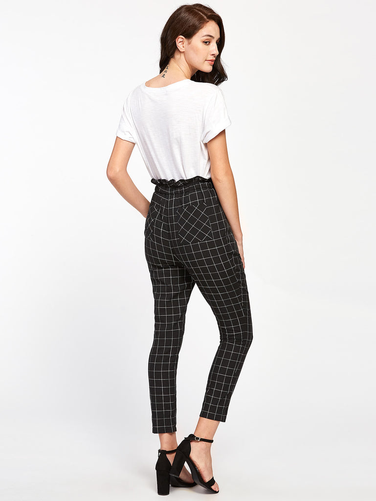 Frilled Waist Grid Pants (4)