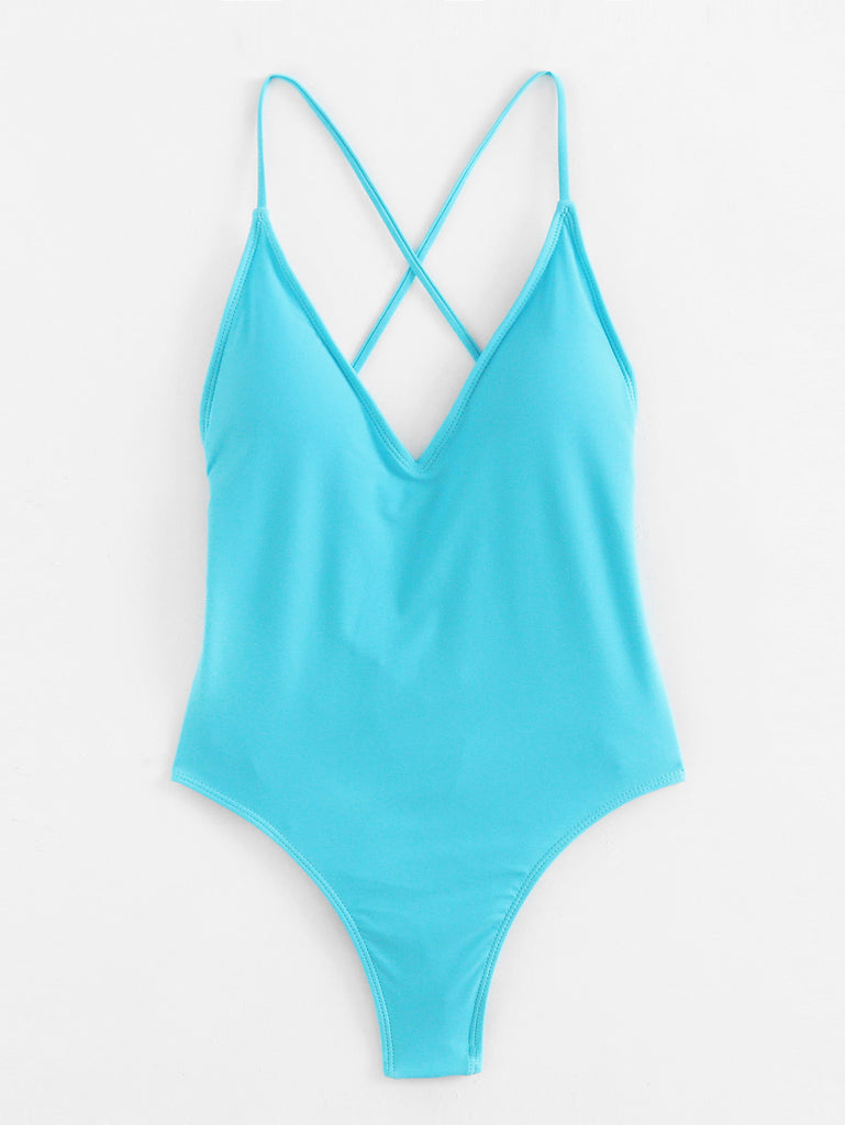 Lace Up Back Ruched Detail Plunge Swimsuit