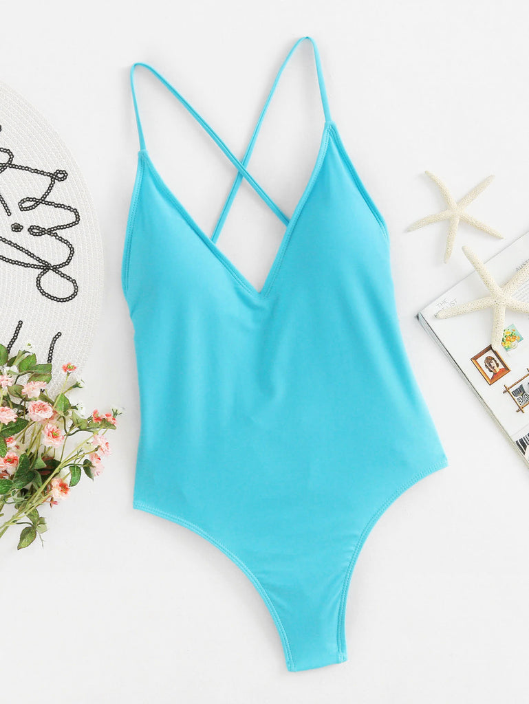 Lace Up Back Ruched Detail Plunge Swimsuit (4)