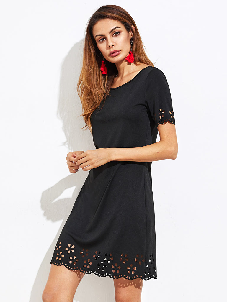Scallop Laser Cut Keyhole Back Dress (2)