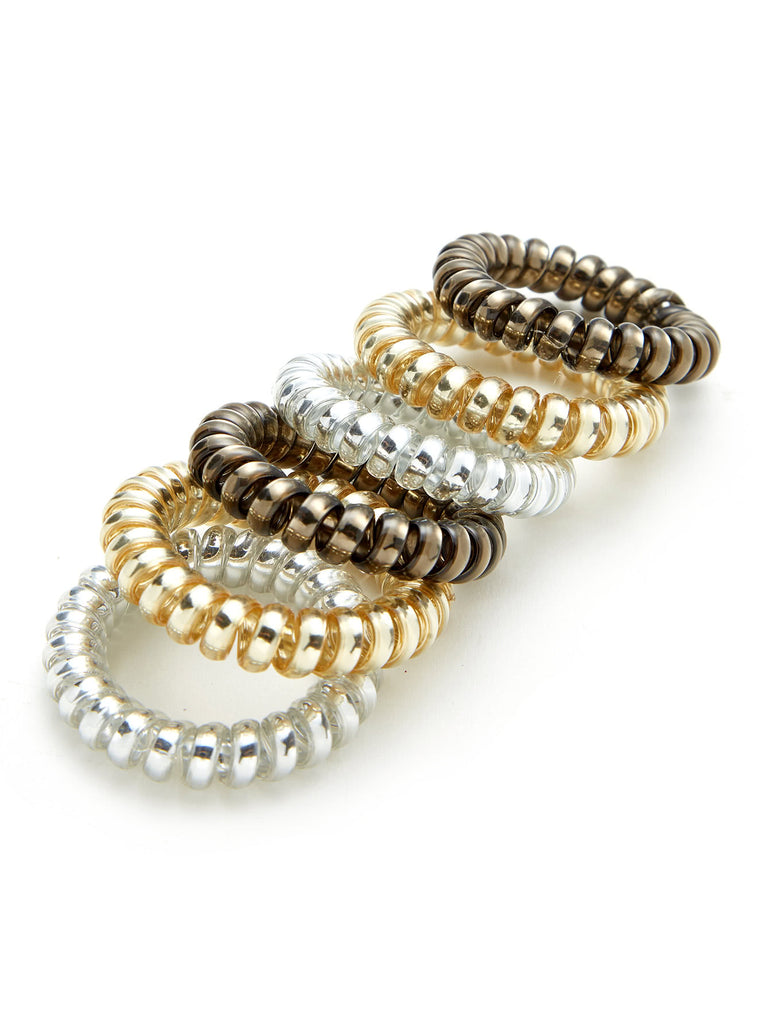 Metallic Coil Hair Ties 6pcs (2)