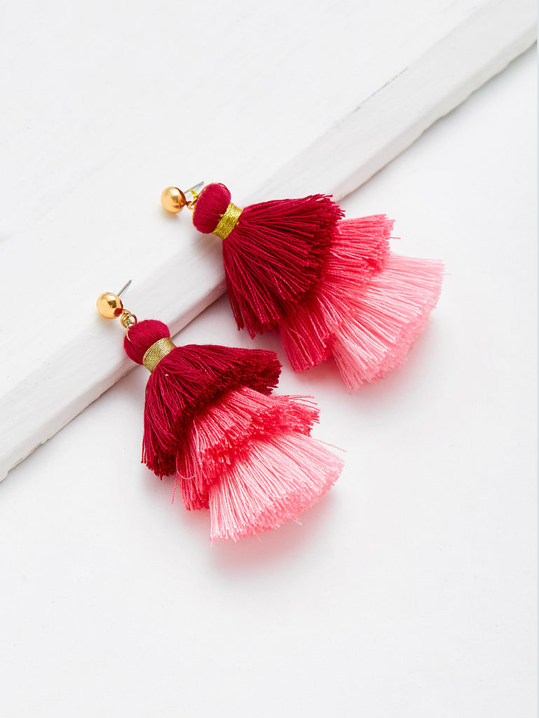Color Block Layered Tassel Drop Earrings