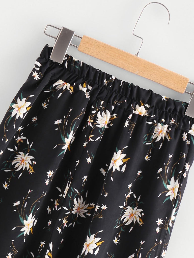 Calico Print Crop Cami Top With Wide Leg Pants (3)