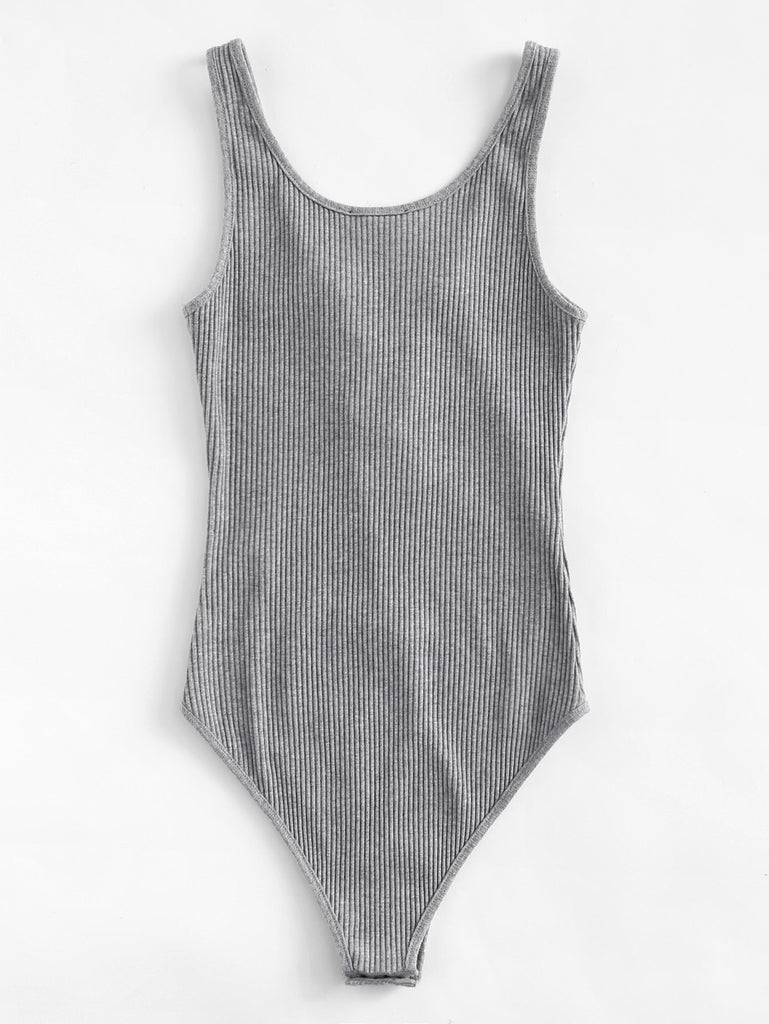 Lace Up Front Rib Knit Heathered Bodysuit (3)
