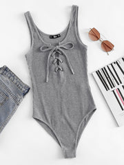 Lace Up Front Rib Knit Heathered Bodysuit