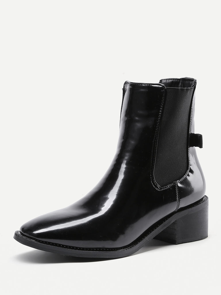 Almond Toe Patent Leather Ankle Boots (3)