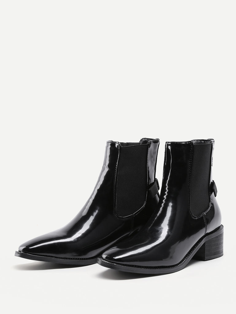 Almond Toe Patent Leather Ankle Boots (2)