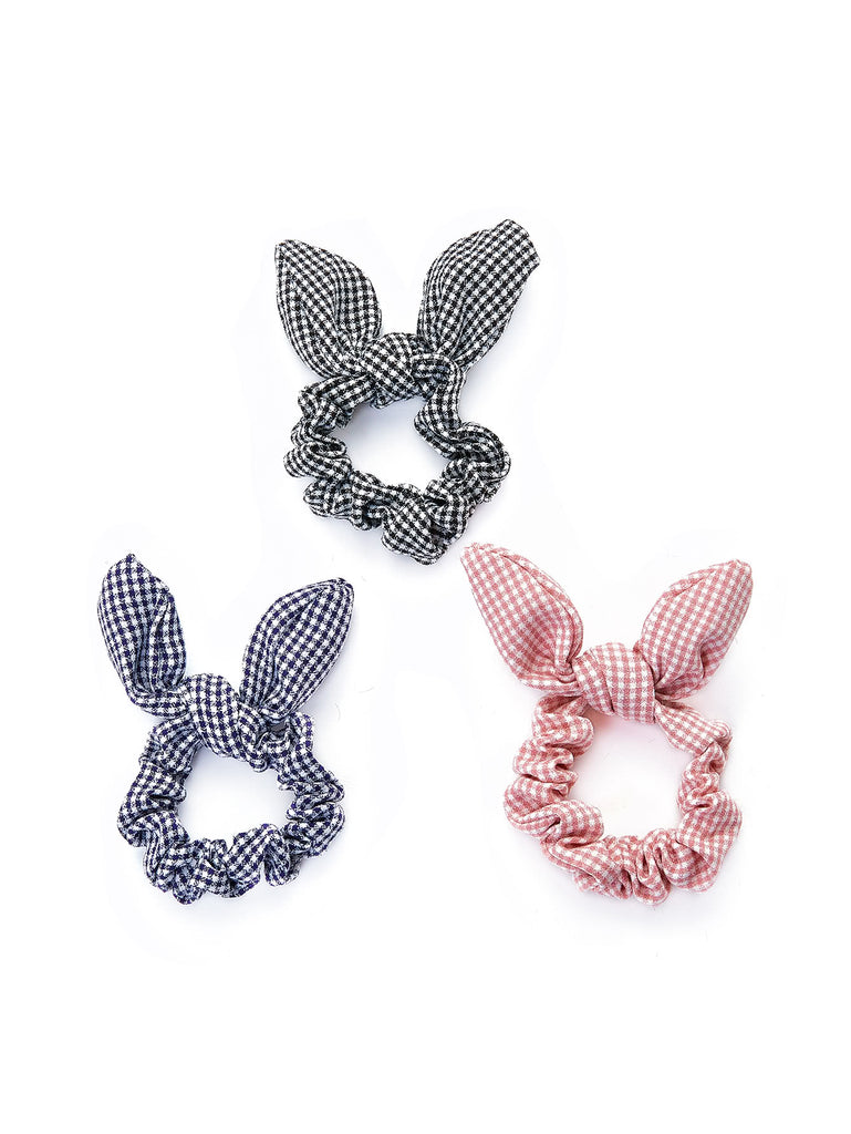 Knotted Bow Plaid Hair Tie 3pcs (2)