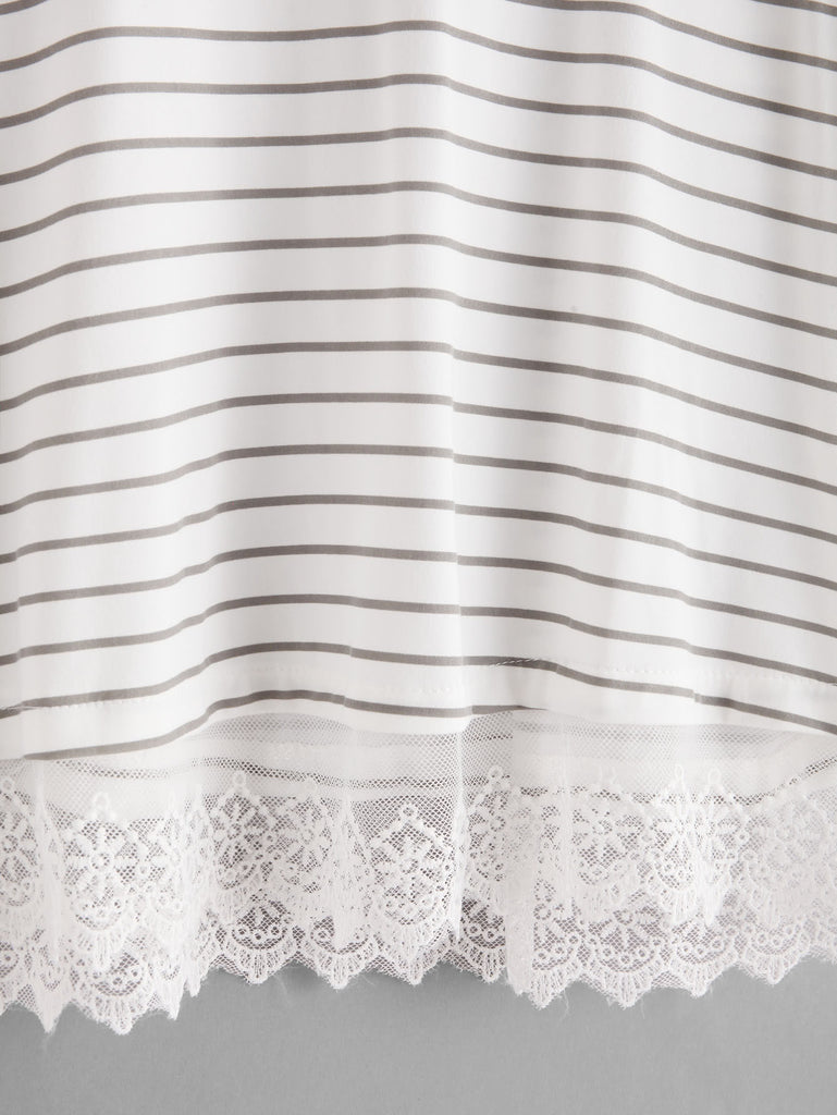 Lace Contrast Horizon Stripe Pajama Set (3)
