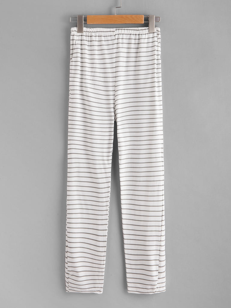 Lace Contrast Horizon Stripe Pajama Set (4)
