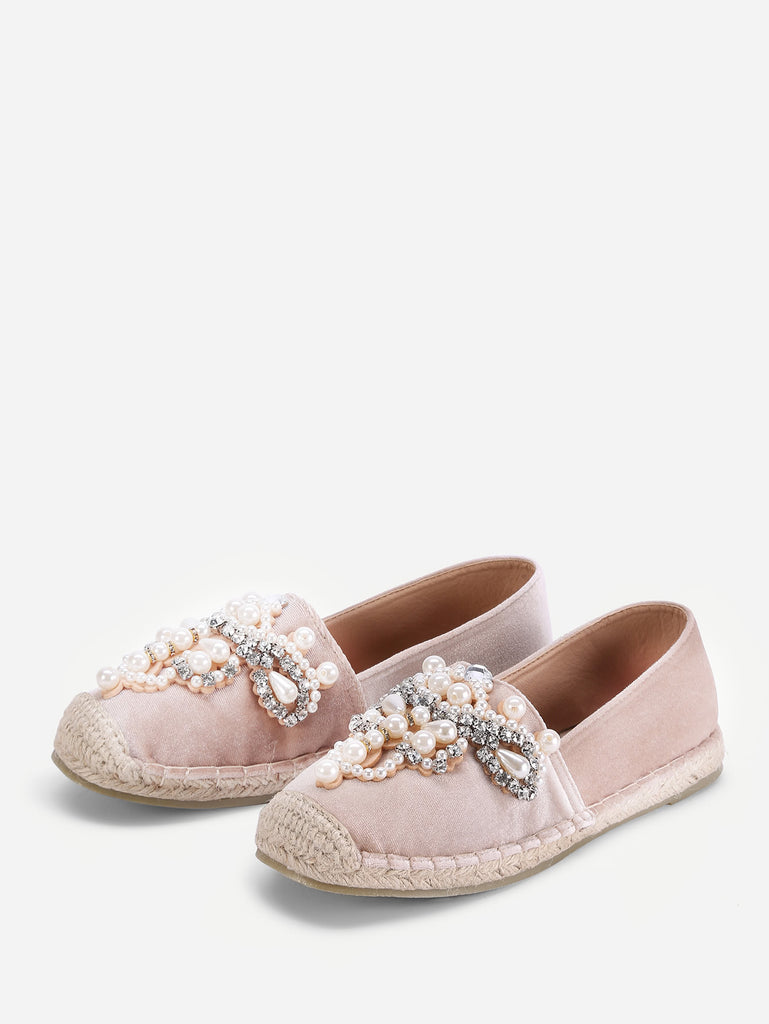 Jewelry Decorated Cap Toe Espadrille Flats (2)