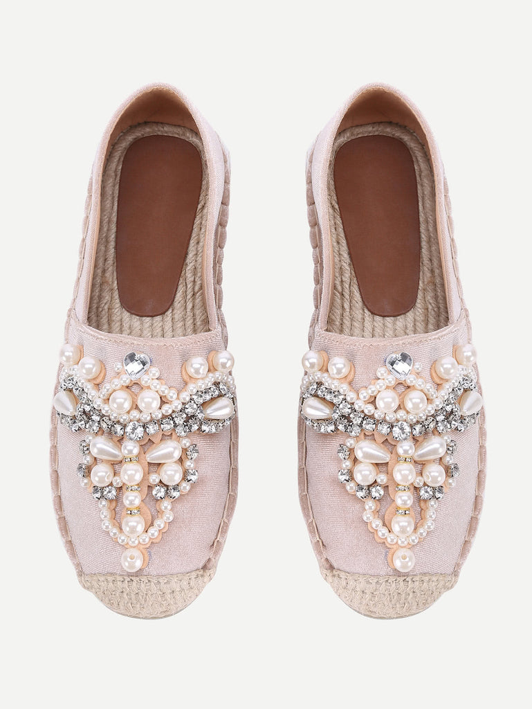 Jewelry Decorated Cap Toe Espadrille Flats (4)
