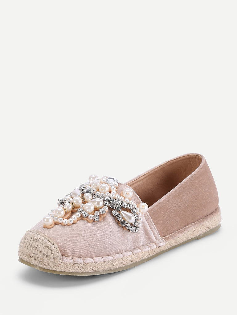 Jewelry Decorated Cap Toe Espadrille Flats (3)