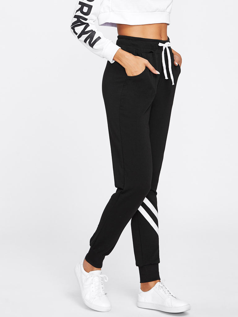 Drawstring Waist Striped Trim Sweatpants (2)