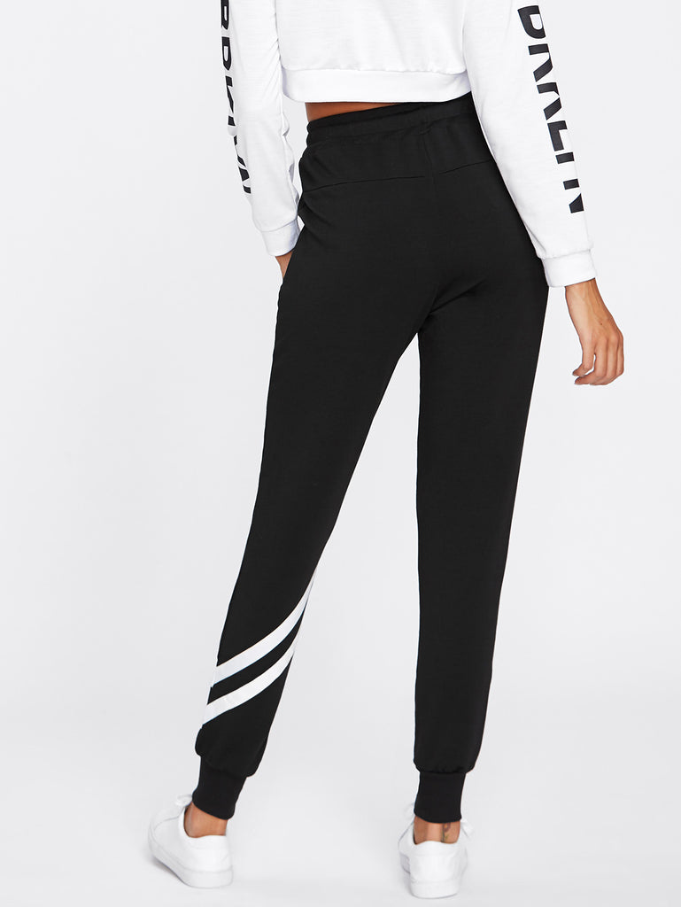 Drawstring Waist Striped Trim Sweatpants (3)
