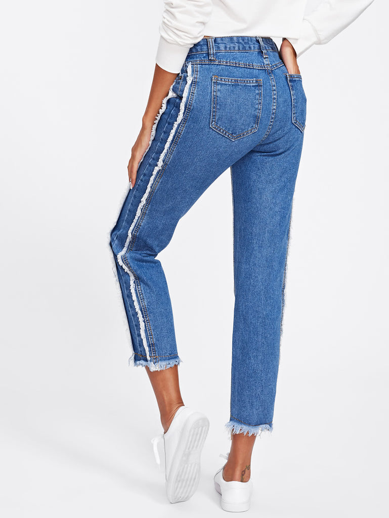 Frayed Trim Tapered Jeans (3)