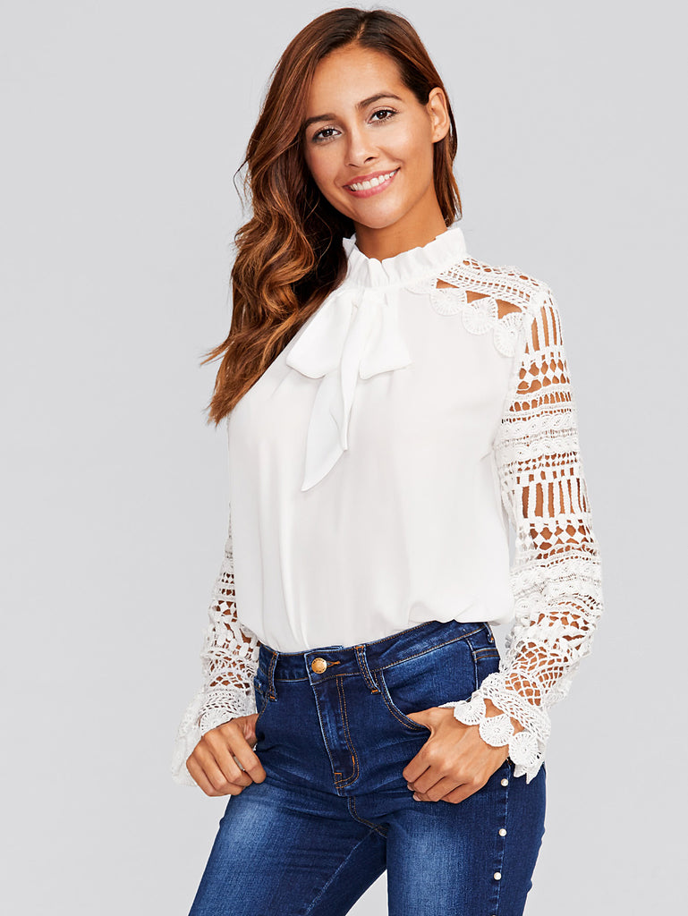 Geo Lace Sleeve Frilled Tie Neck Blouse (4)