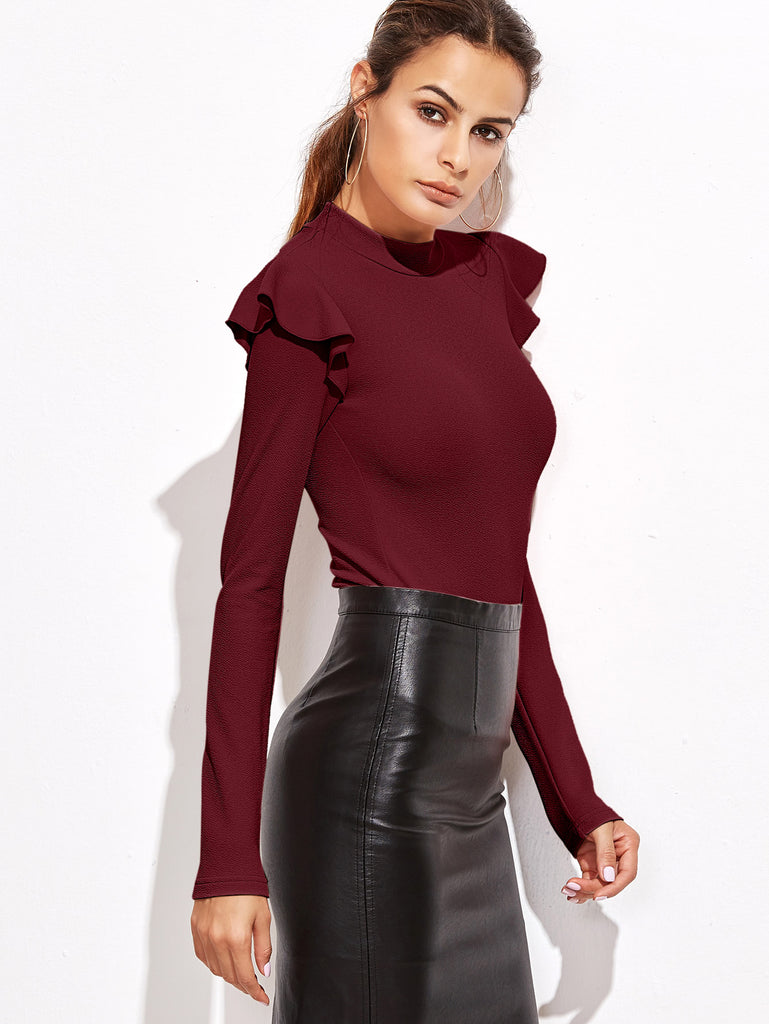 Mock Neck Frill Detail Textured Bodysuit (5)