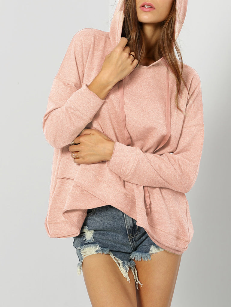 Dropped Shoulder Heather Knit Overlap Hoodie (2)