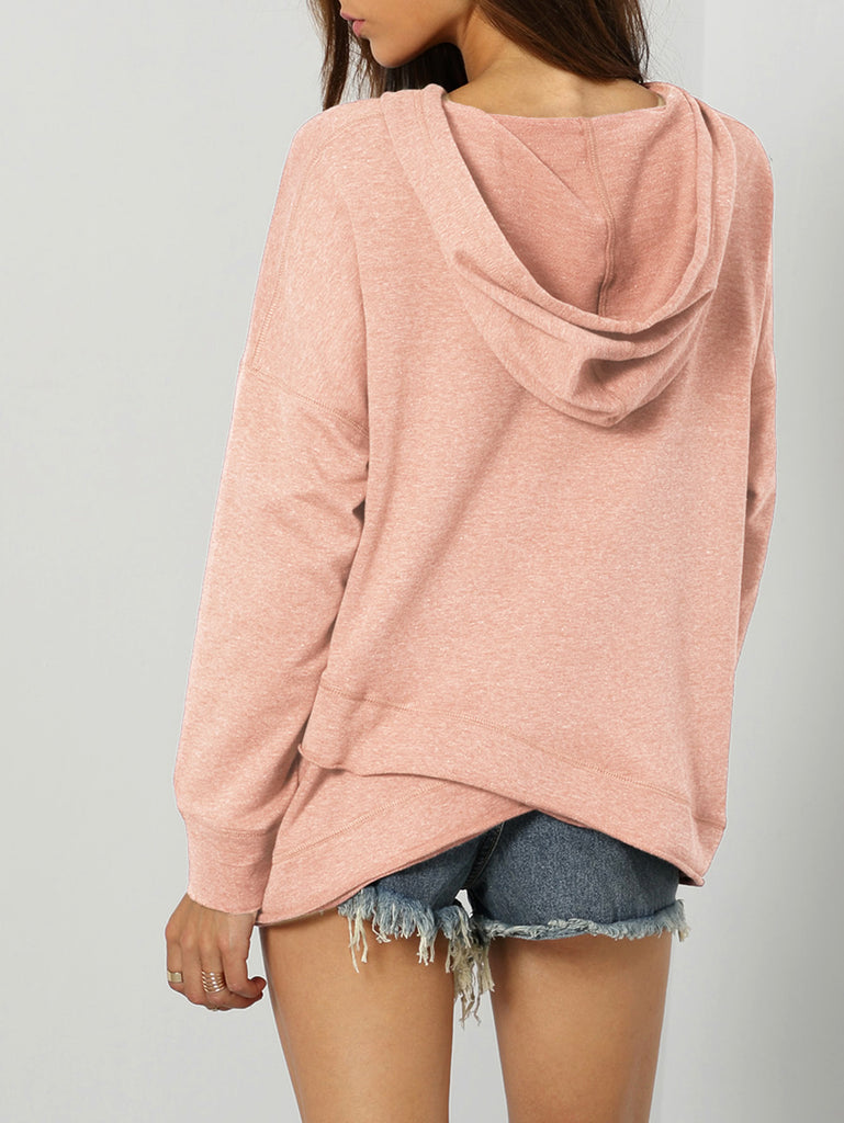Dropped Shoulder Heather Knit Overlap Hoodie (4)