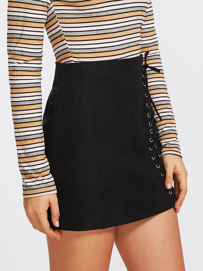 Grommet Lace Up Detail Skirt (2)