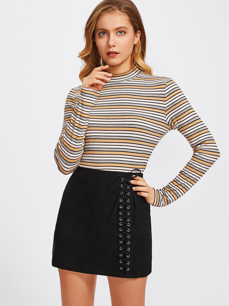 Grommet Lace Up Detail Skirt (3)